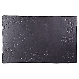 Abbeye Black Porcelain Floor Tile, Pack of 8,
