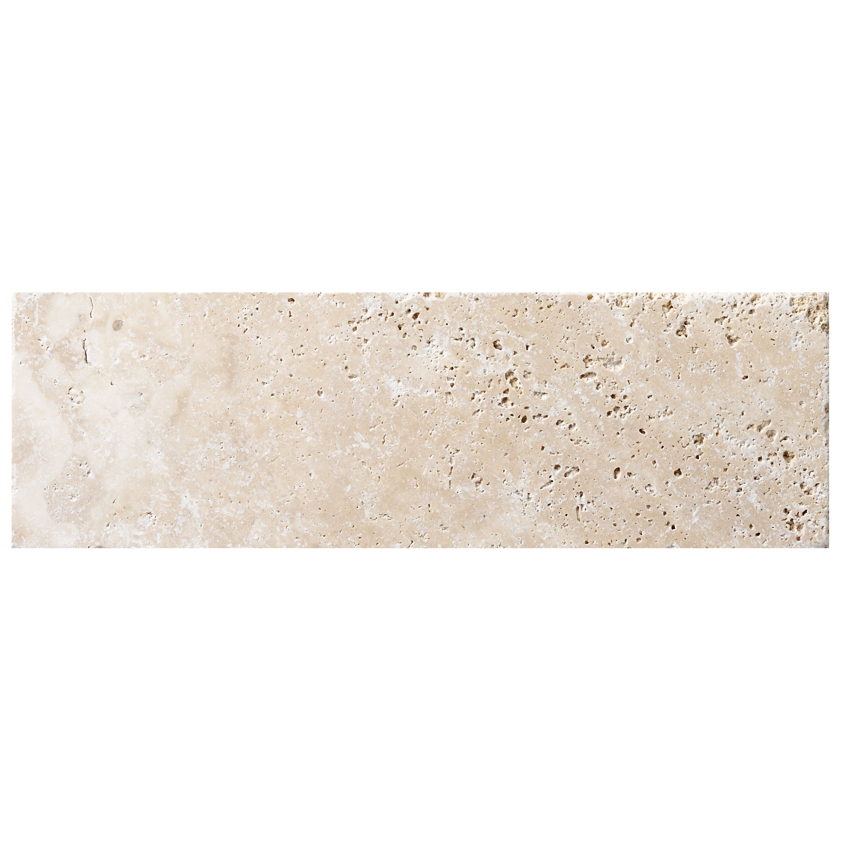 Tumbled Light Beige Stone Effect Travertine Wall Tile, Pack Of 15, (l)305mm (w)100mm
