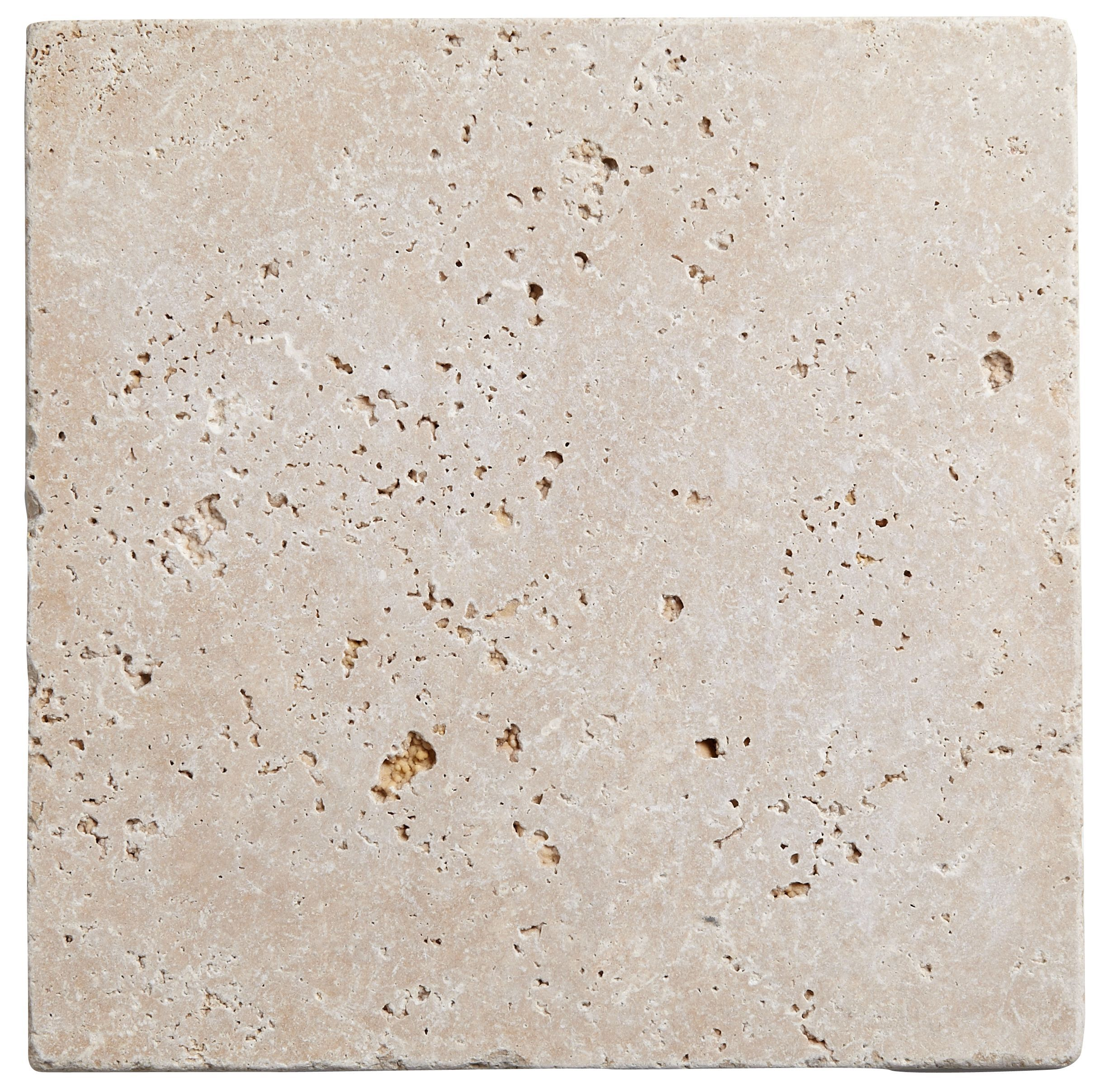 Tumbled Light Beige Stone Effect Travertine Wall & Floor Tile, Pack Of 10, (l)305mm (w)305mm