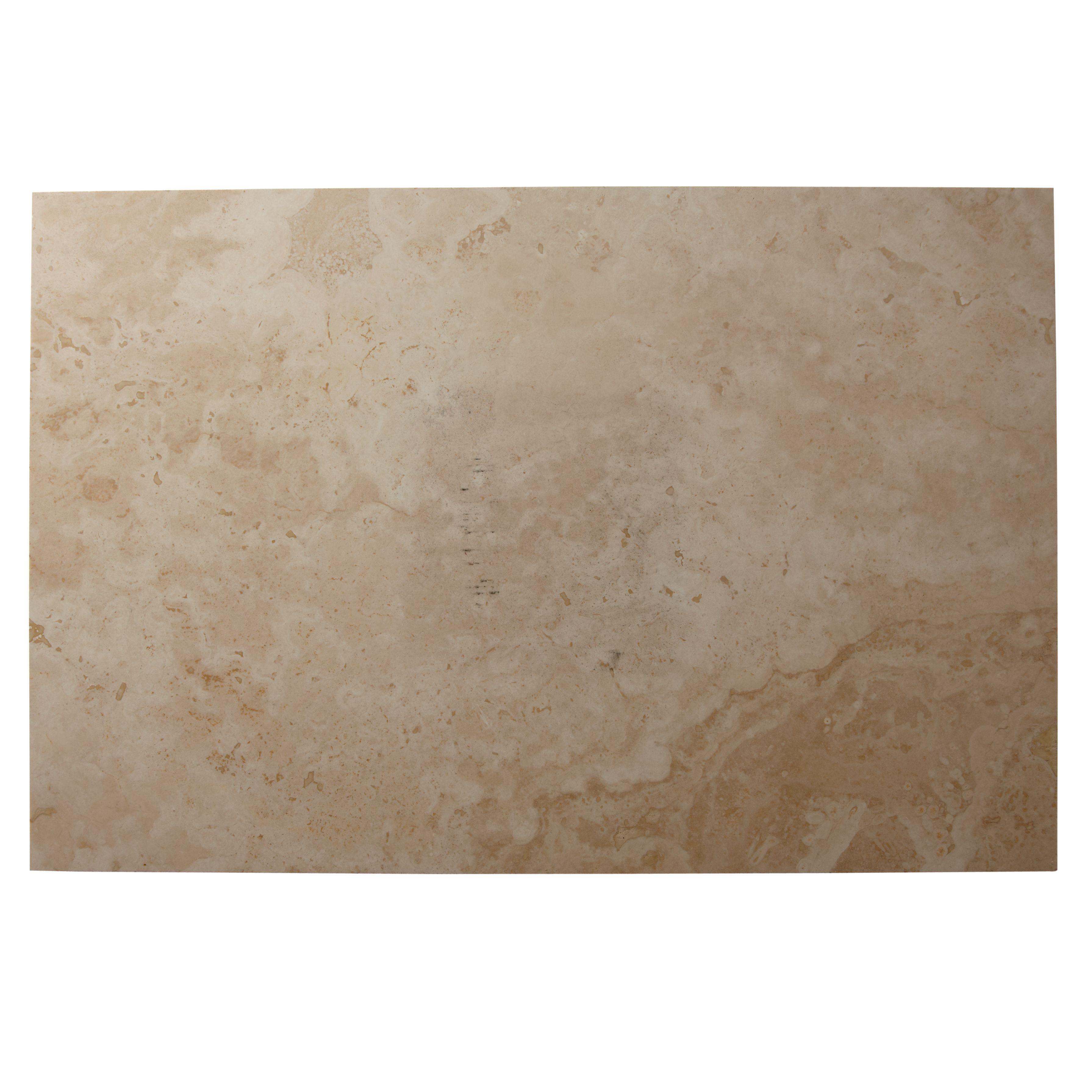 Tumbled Light Beige Stone Effect Travertine Floor Tile, Pack Of 2, (l)610mm (w)406mm