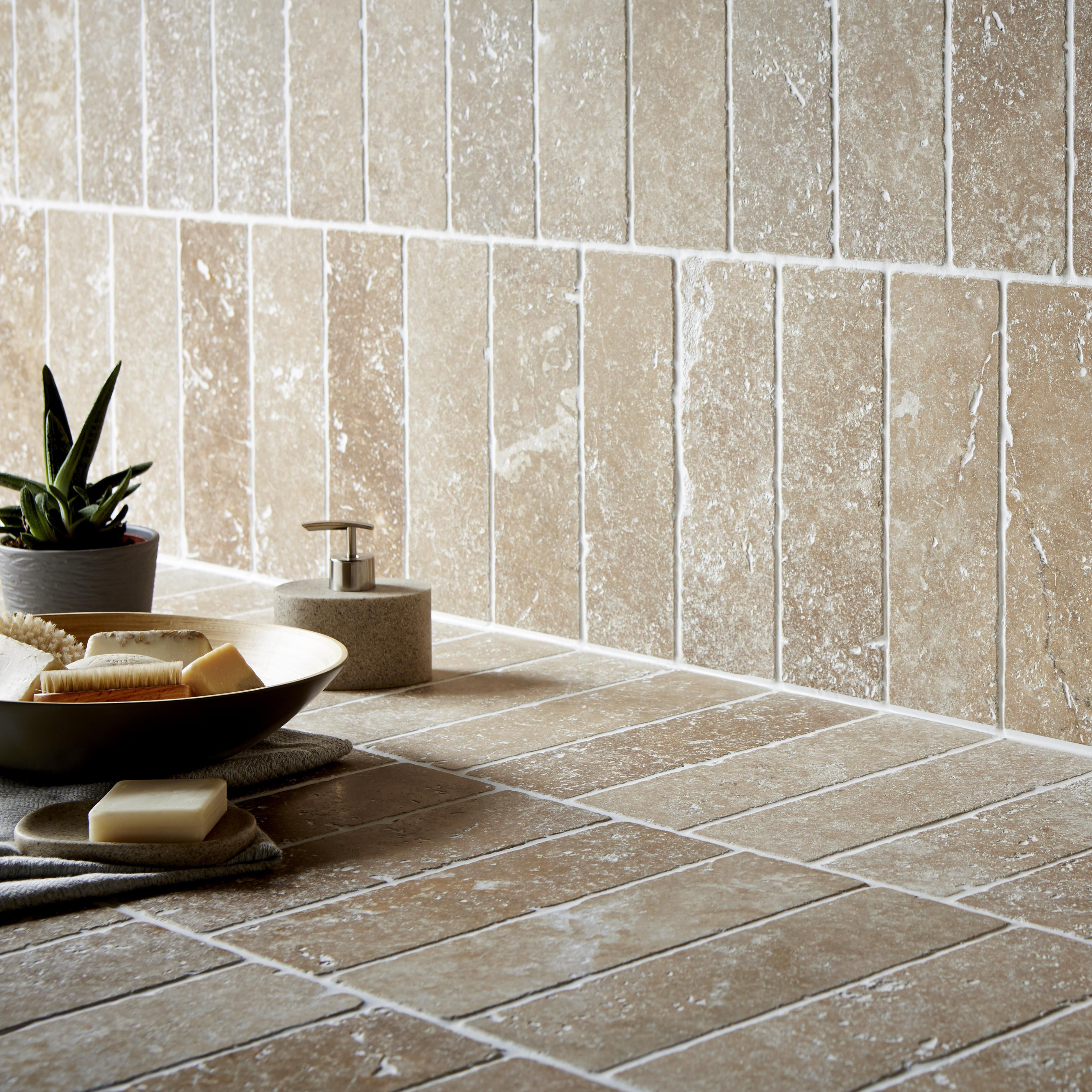 Tumbled Noce Stone Effect Travertine Wall Tile Pack Of 15