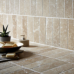 Tumbled Noce Travertine Wall Tile, Pack of 15,
