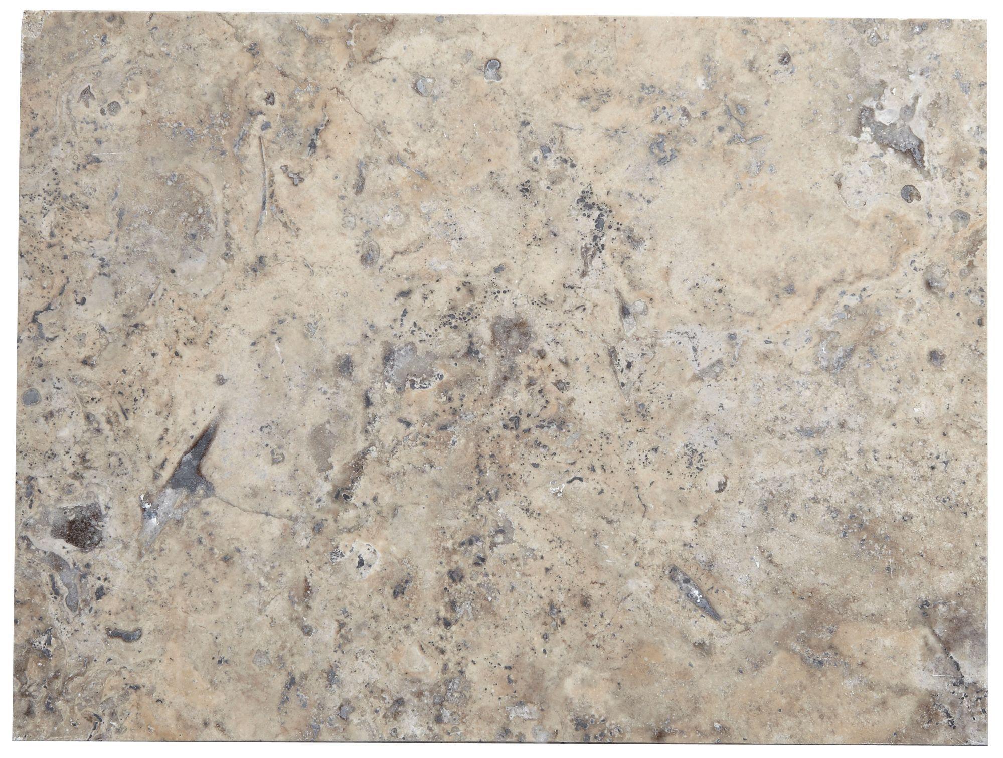 Travertine Stone Wall : Honed filled grey natural stone effect travertine wall