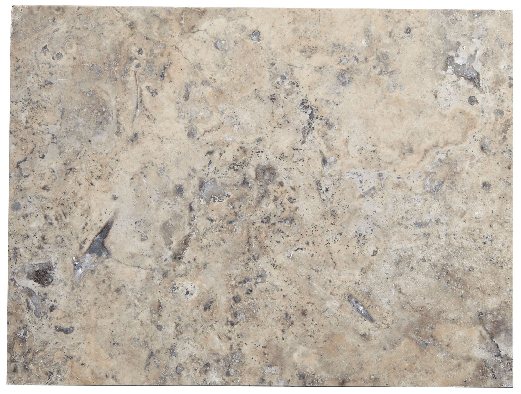 Honed & Filled Grey Stone Effect Natural Stone Travertine Wall & Floor Tile, Pack Of 6, (l)406mm (w)305mm
