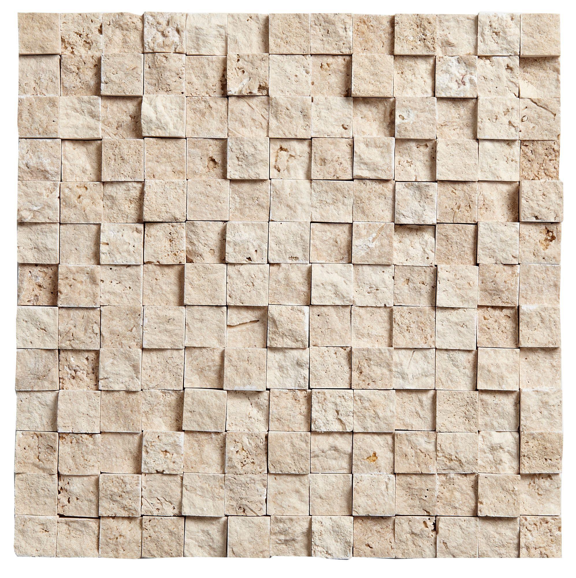 Natural Travertine Mosaic Tile L 300mm W 300mm: Natural 3D Cubed Mosaic Stone Wall Tile, (L)300mm (W)300mm
