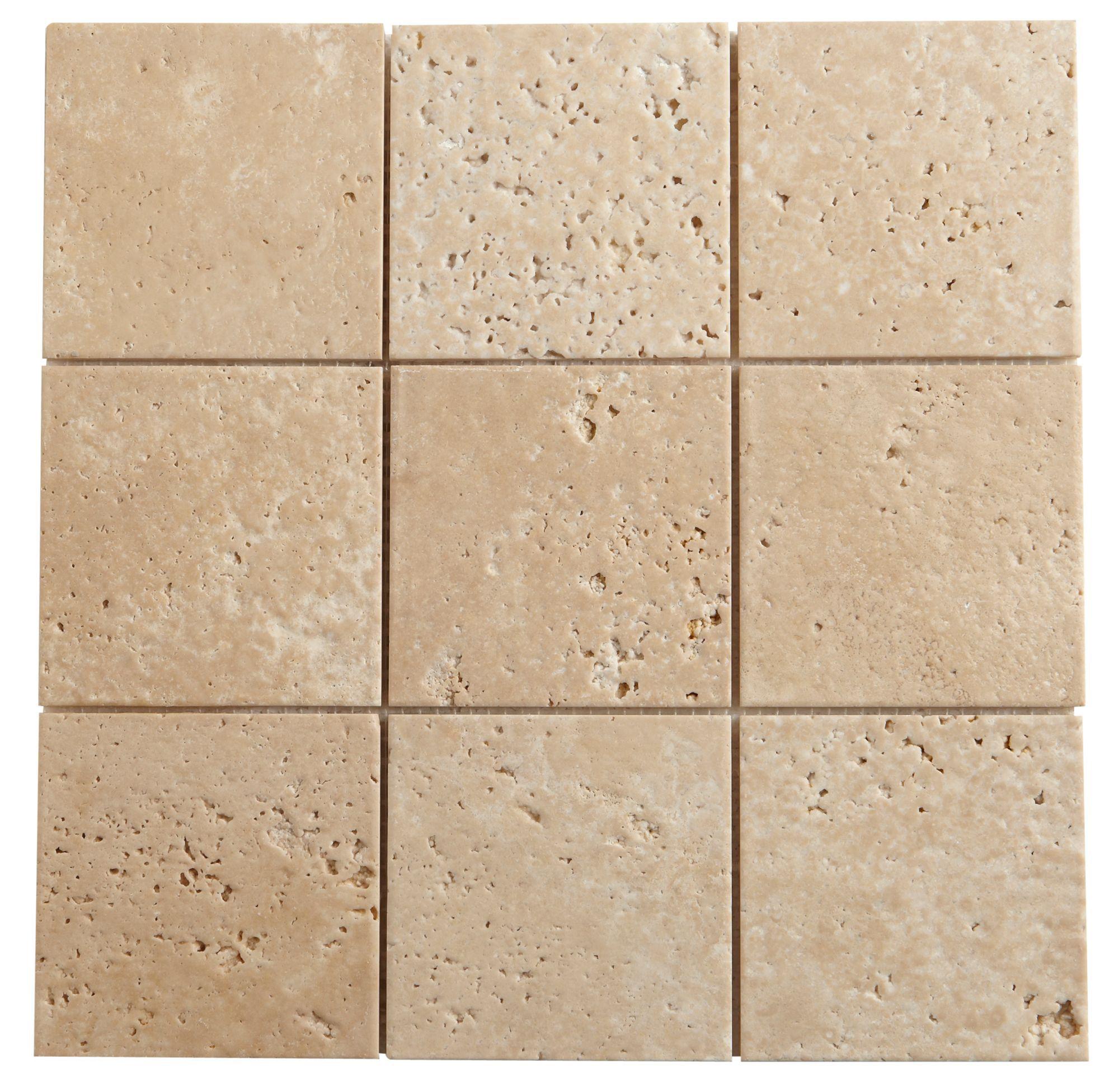 Natural Travertine Mosaic Tile L 300mm W 300mm: Beige Mosaic Travertine Mosaic Tile, (L)300mm (W)300mm