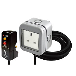 Diall Grey Outdoor Socket & RCD Plug