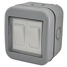 Diall 2-Gang 2-Way 10A External Double Outdoor Switch
