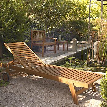 Aland wooden sunlounger