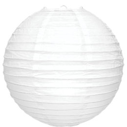 White Ribbed Ball Light Shade (D)30cm