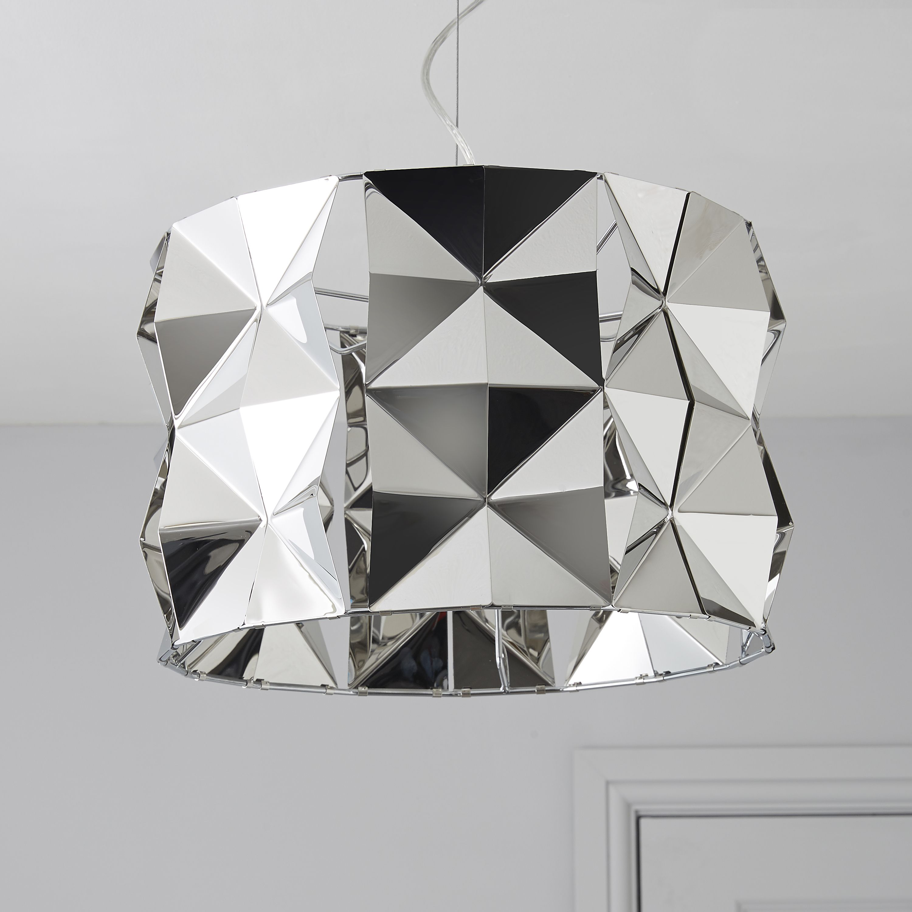 Bathroom ceiling lights b q - Ciara Faceted Silver Chrome Effect Pendant Ceiling Light Departments Diy At B Q