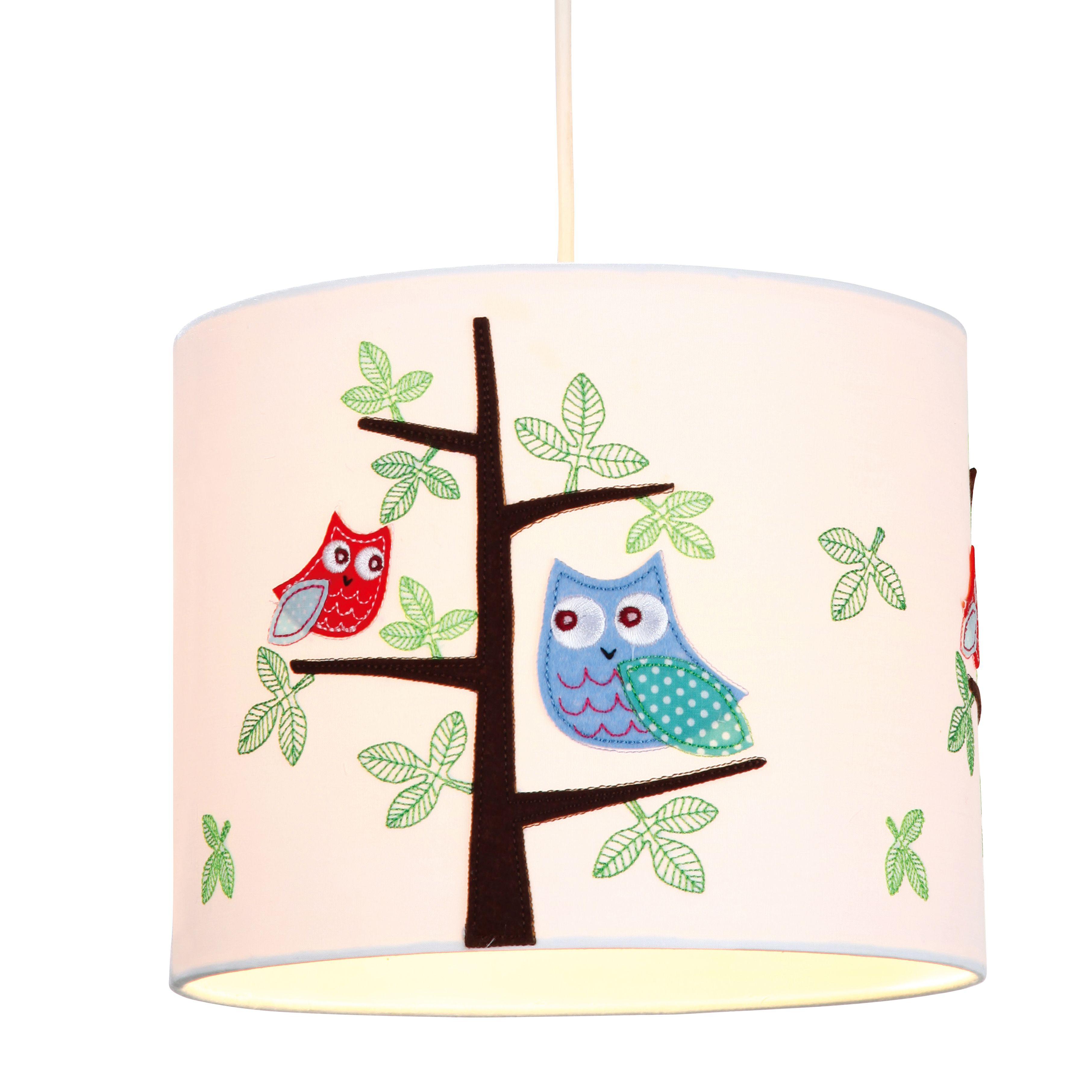 Colours Rosalba White Owl Light Shade (D)25cm Departments DIY at B&Q