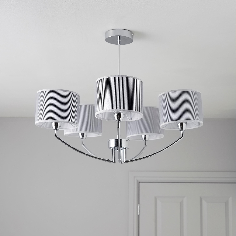 Chrome Kitchen Ceiling Lighting   DIY:Fides Shaded Grey Chrome Effect 5 Lamp Pendant Ceiling Light,Lighting