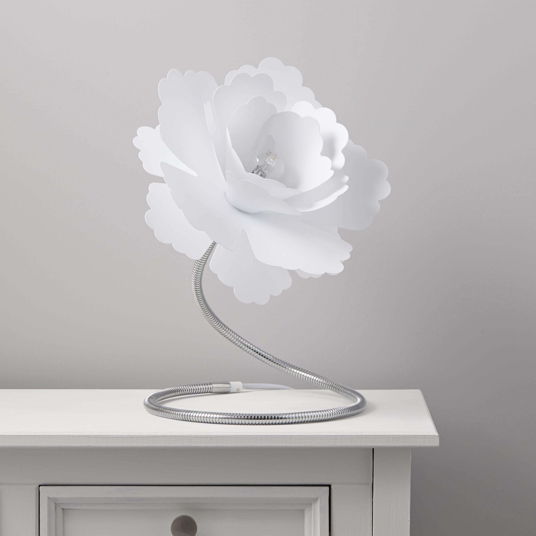 White Living Room Lamp Paloma Flower Table