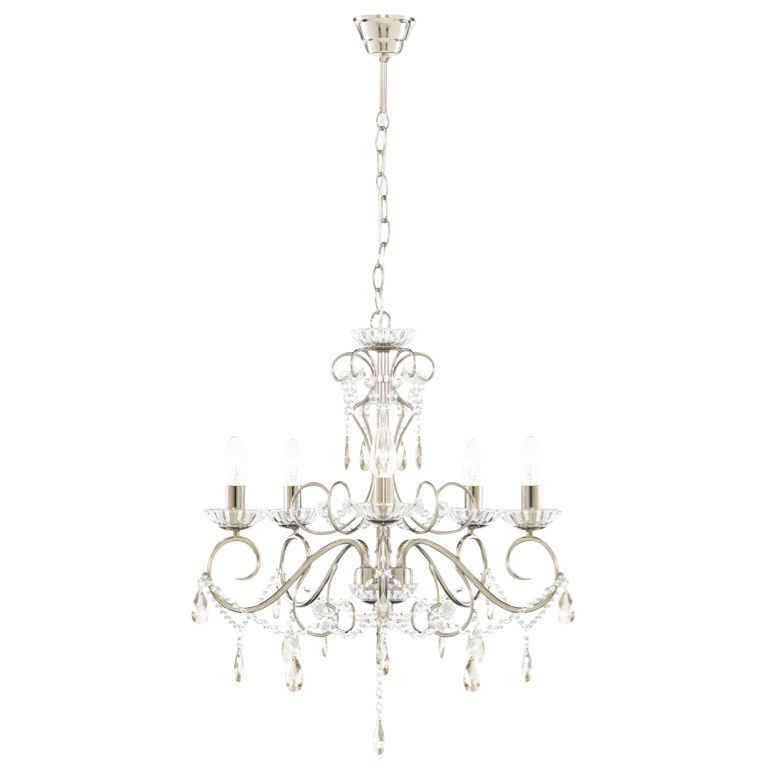Chesworth Nickel Effect 5 Lamp Pendant Ceiling Light