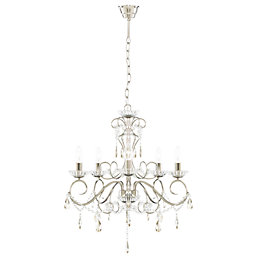 Chesworth Silver Nickel Effect 5 Lamp Pendant Ceiling