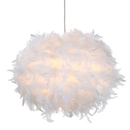 Colours Melito White Feather Ball Light Shade (D)40cm
