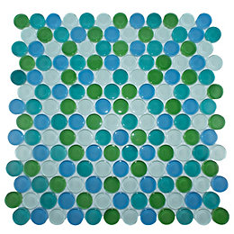 Circles Multi Colour Glass Mosaic Tile, (L)310mm (W)304mm