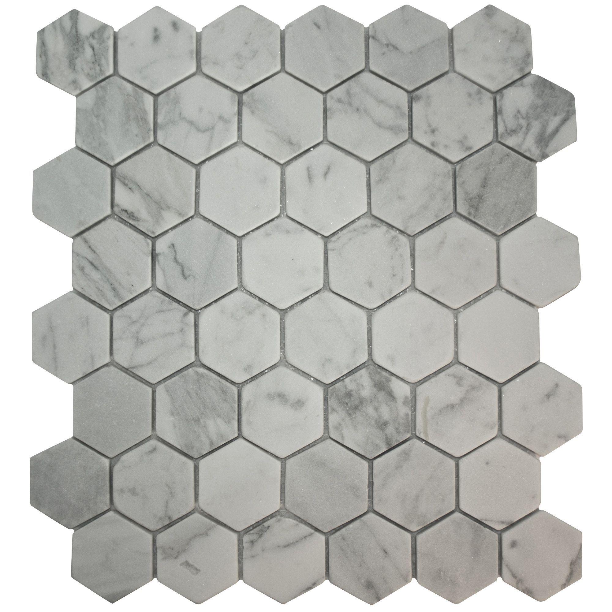 bronte white grey stone effect mosaic tile l 321mm w. Black Bedroom Furniture Sets. Home Design Ideas