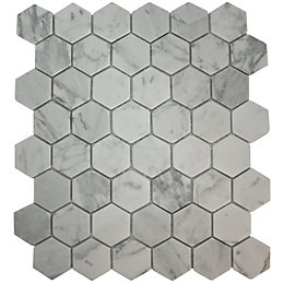 Bronte White & Grey Mosaic Tile, (L)321mm (W)293mm