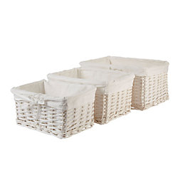 Form White Willow Storage Basket, Pack of 3