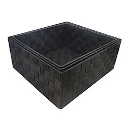 Form Black Plastic Storage Basket, Pack of 3