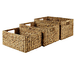 Form Natural Water Hyacinth Storage Basket, Pack of