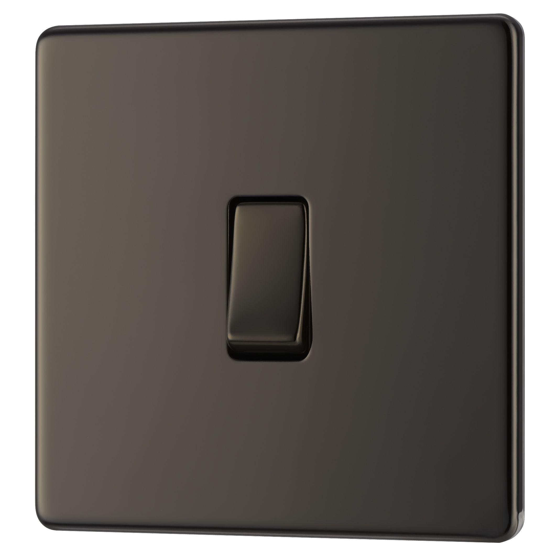 Colours 10a 1-way Single Black Nickel Light Switch