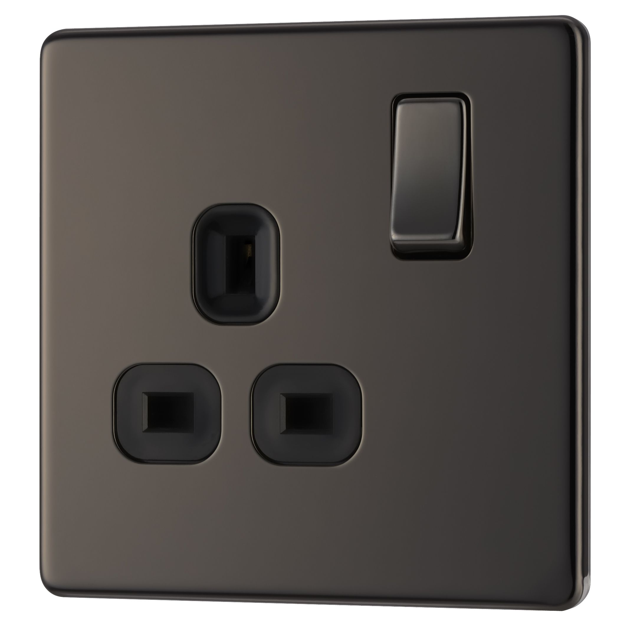 Colours 13a Black Nickel Switched Single Socket