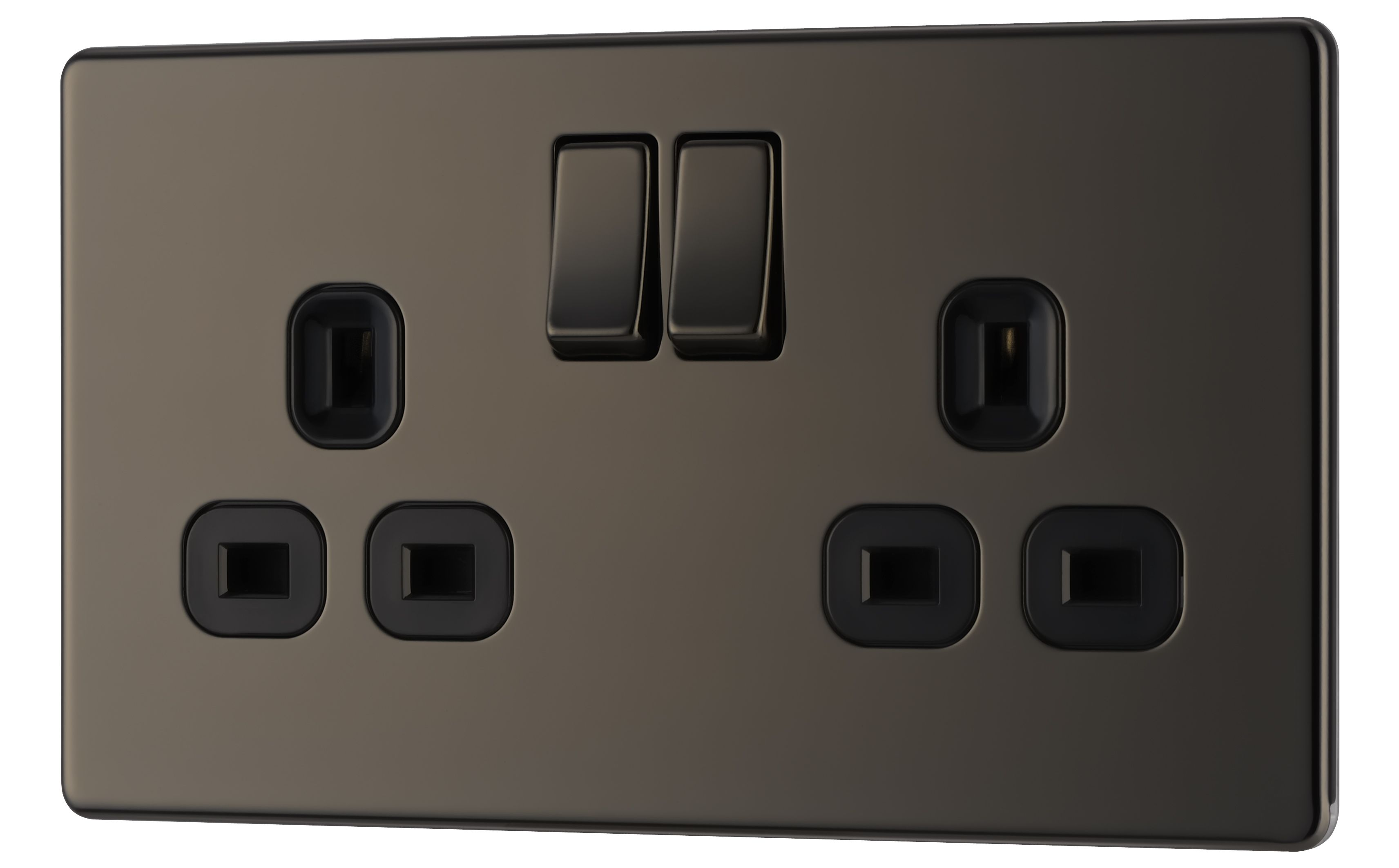 Colours 13a Black Nickel Switched Double Socket