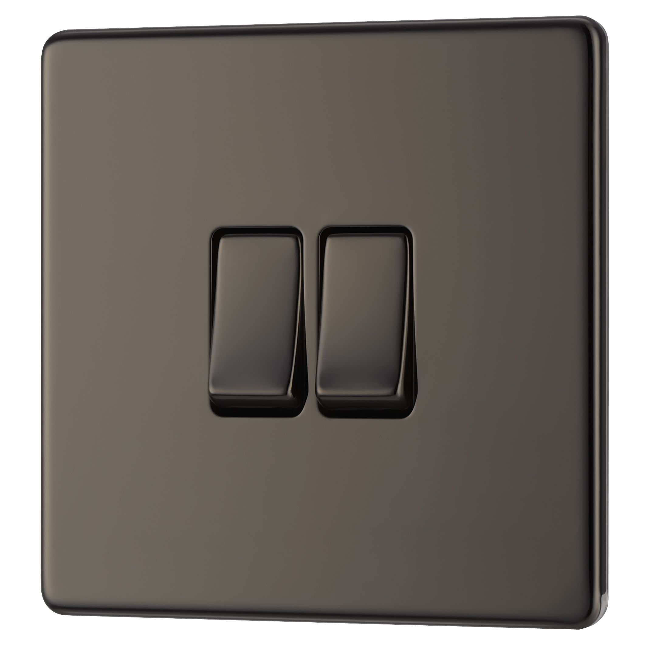 Colours 10a 2-way Double Black Nickel Light Switch