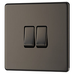 Colours 10AX 2-Way Double Black Nickel Effect Double