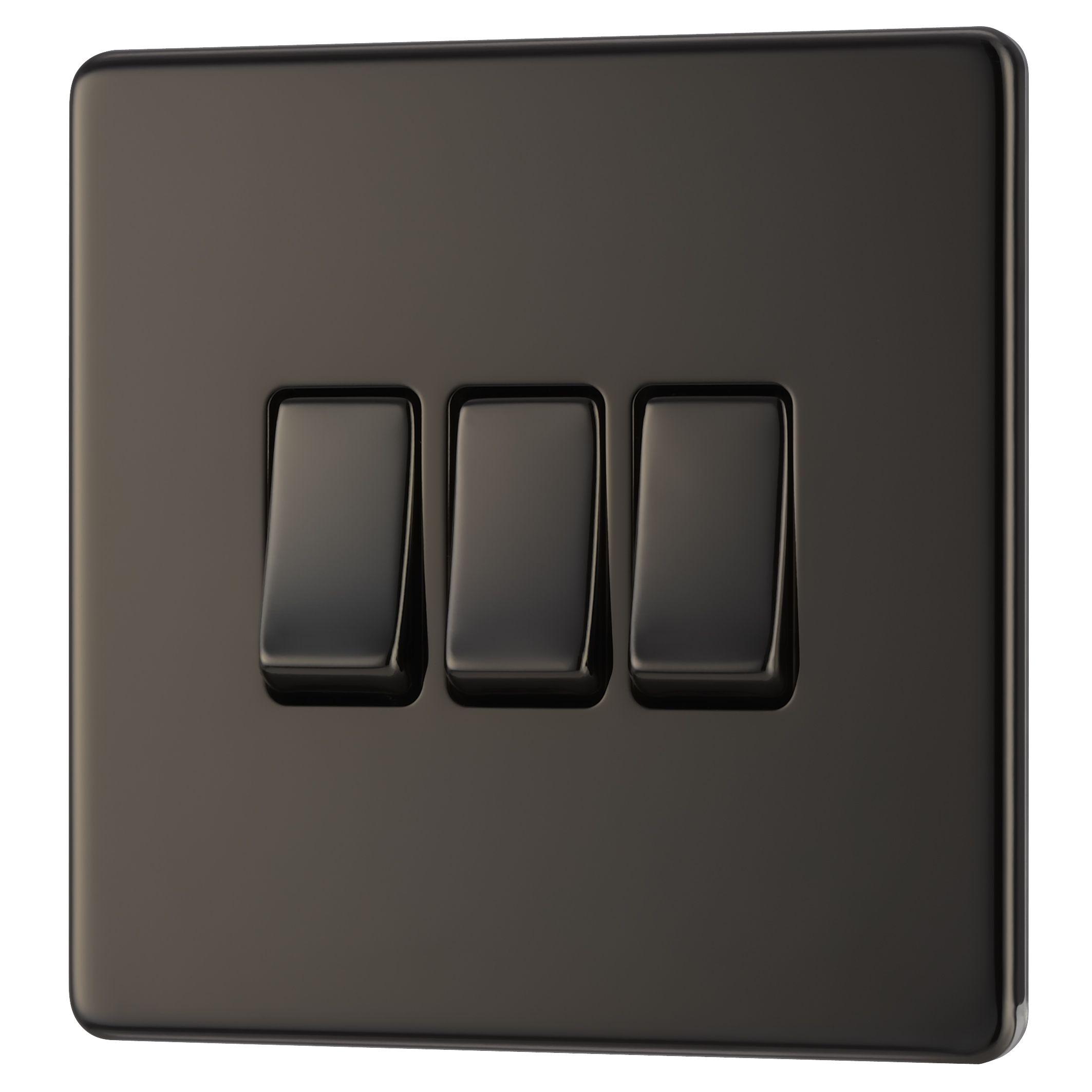 Colours 10a 2-way Triple Black Nickel Light Switch