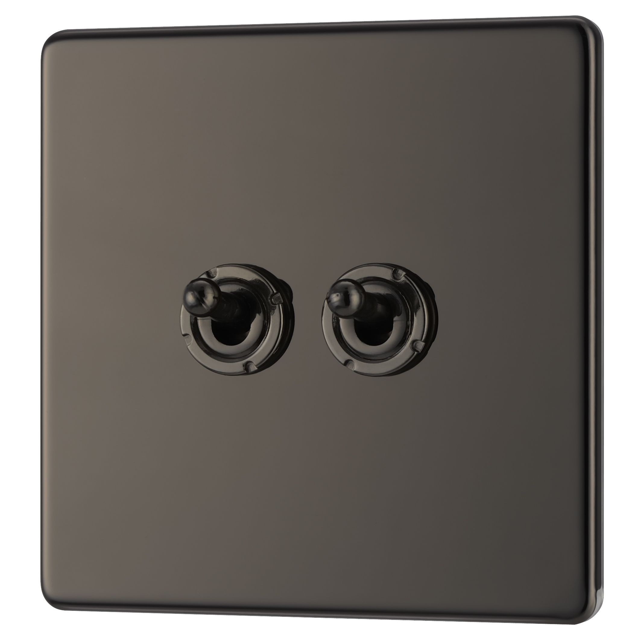 Colours 10a 2-way Double Black Nickel Toggle Switch