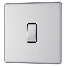 Colours 10A Single Intermediate Brushed Steel Light Switch