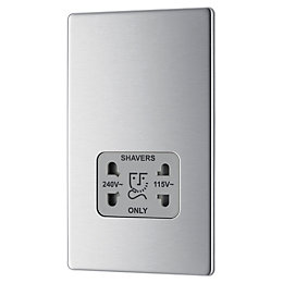 Colours Low Brushed Steel Screwless Faceplate 230V Dual
