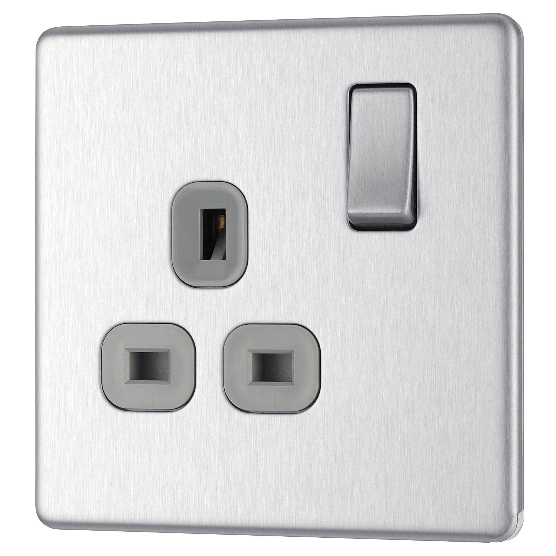 Colours 13a Brushed Steel Switched Single Socket