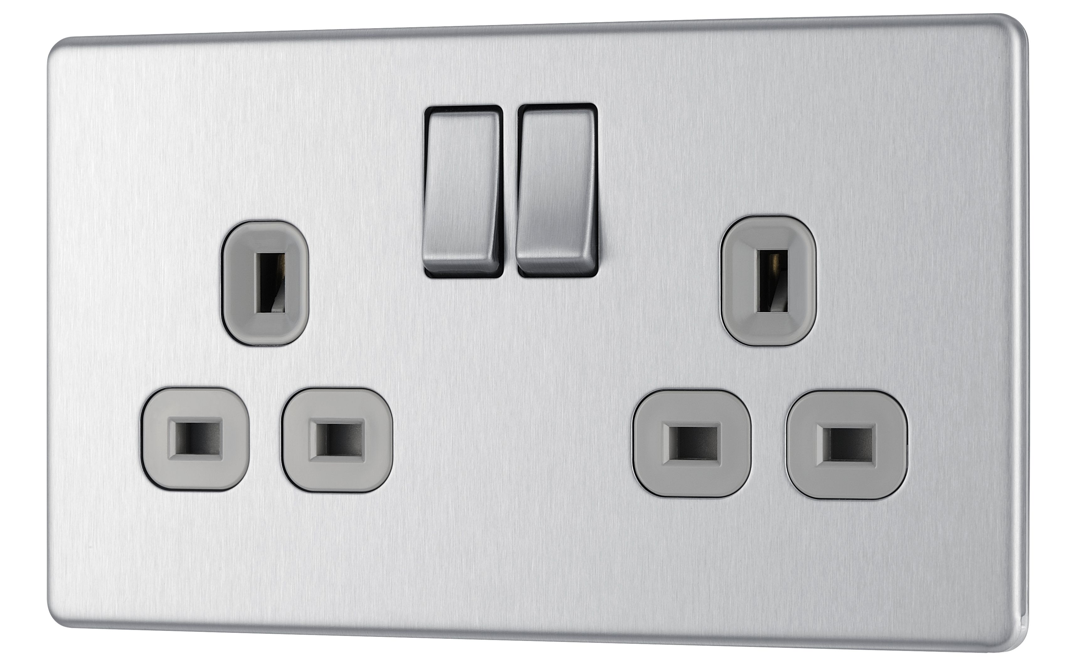 Colours 13a Brushed Steel Switched Double Socket
