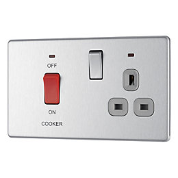Colours 45A Double Pole Cooker Switch & Socket