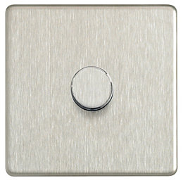 Colours 2-Way Single Stainless Steel Effect Dimmer Switch