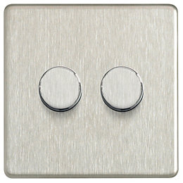 Colours 2-Way Double Stainless Steel Effect Dimmer Switch