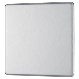 Colours 1-Gang Single Brushed Steel Blanking Plate