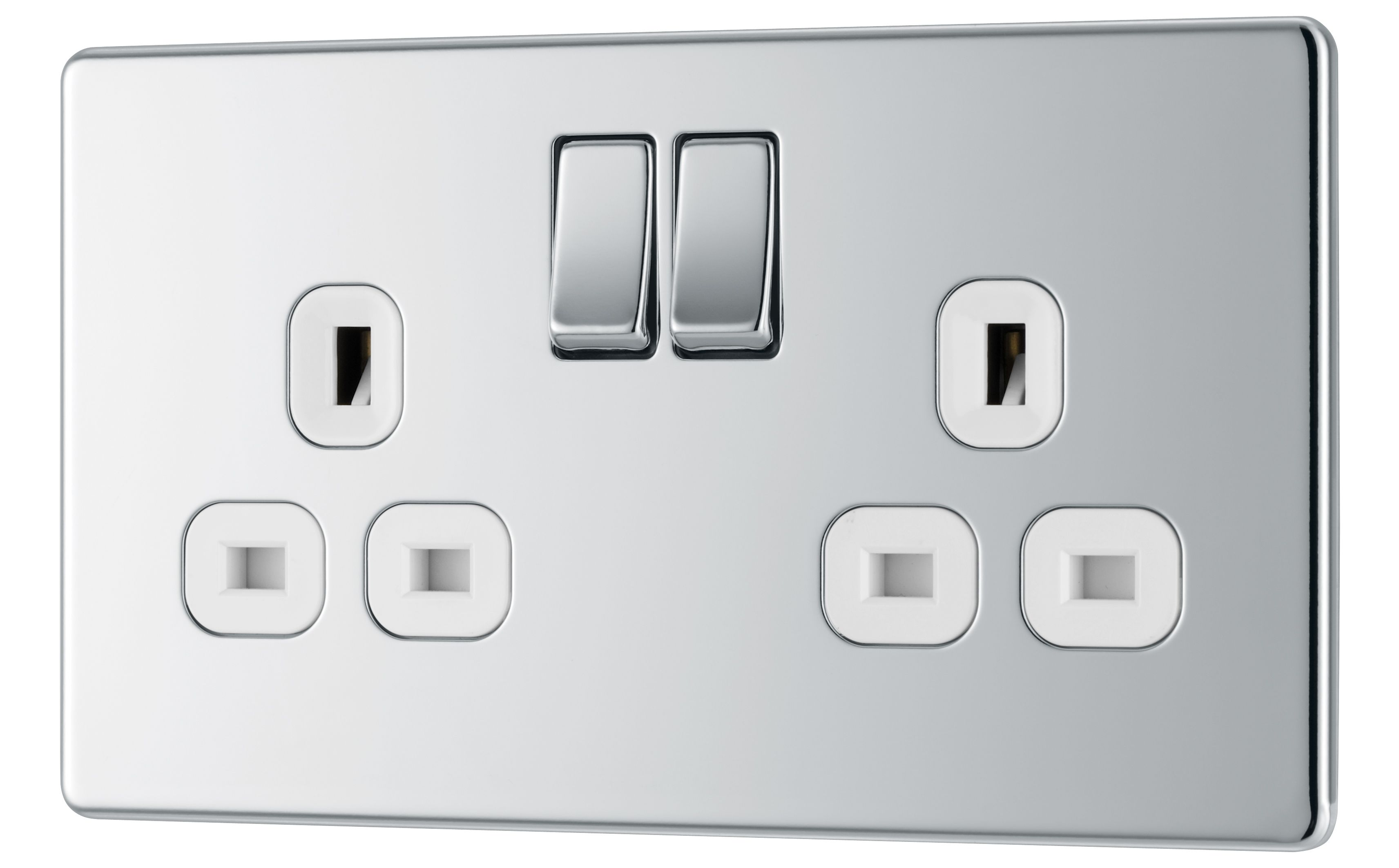 Colours 13a Polished Chrome Switched Double Socket