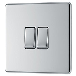 Colours 10A 2-Way Double Polished Chrome Light Switch