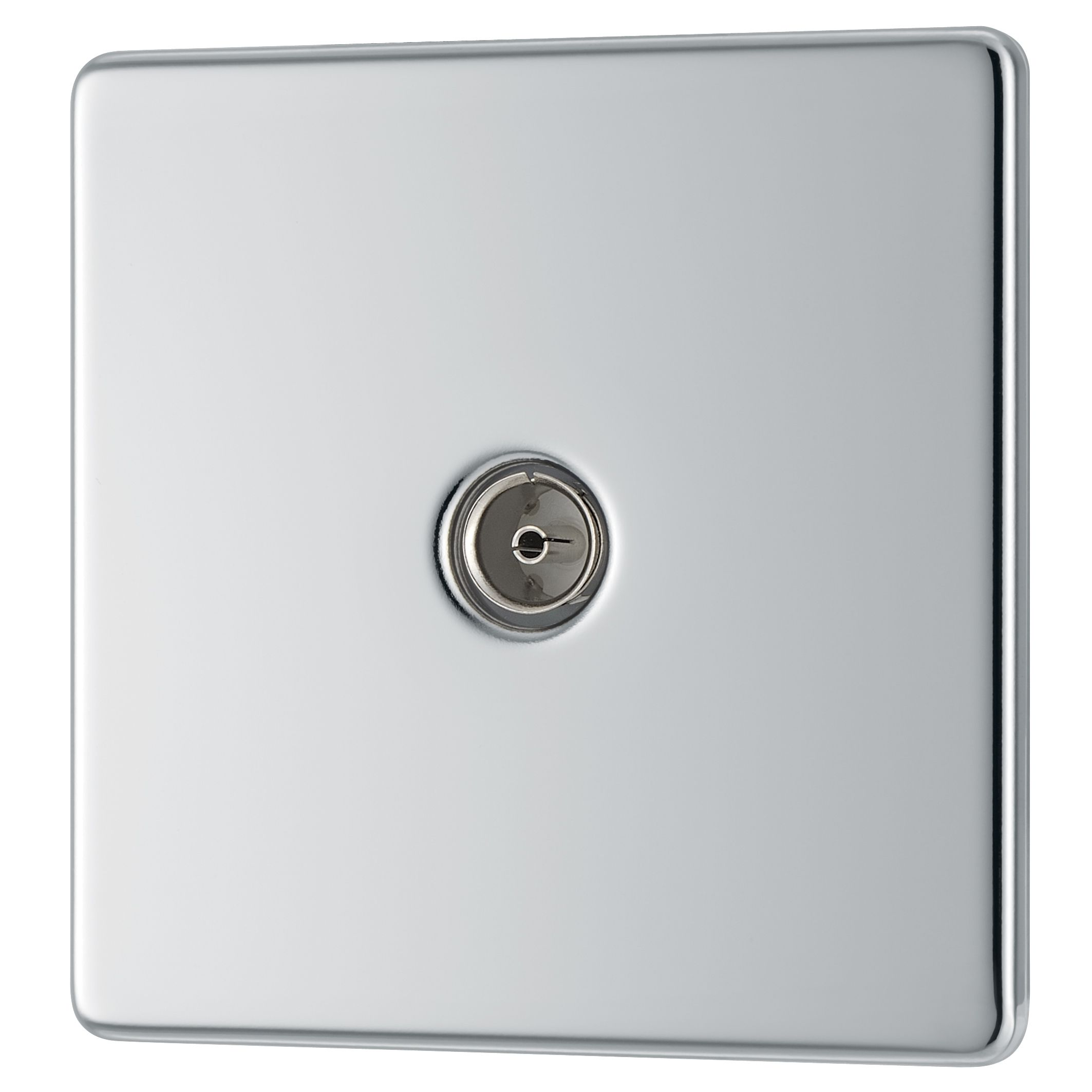 Colours Excellence Flat Screwless Screwless Polished Chrome Polished Chrome Steel Coaxial Socket