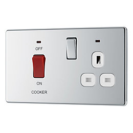 Colours 45A Double Pole Chrome Effect Cooker Switch