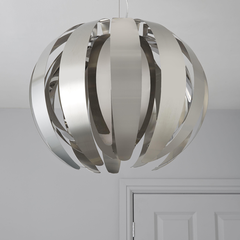 Acrux Brushed Chrome Effect Pendant Ceiling Light