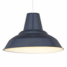 Colours Tezz Anthracite Gloss Pendant Light Shade (D)29cm