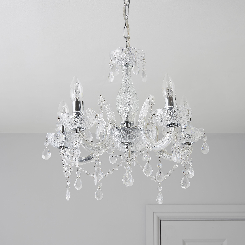 Chandelier Lighting B Q: Annelise Crystal Droplets Silver 5 Lamp Pendant Ceiling