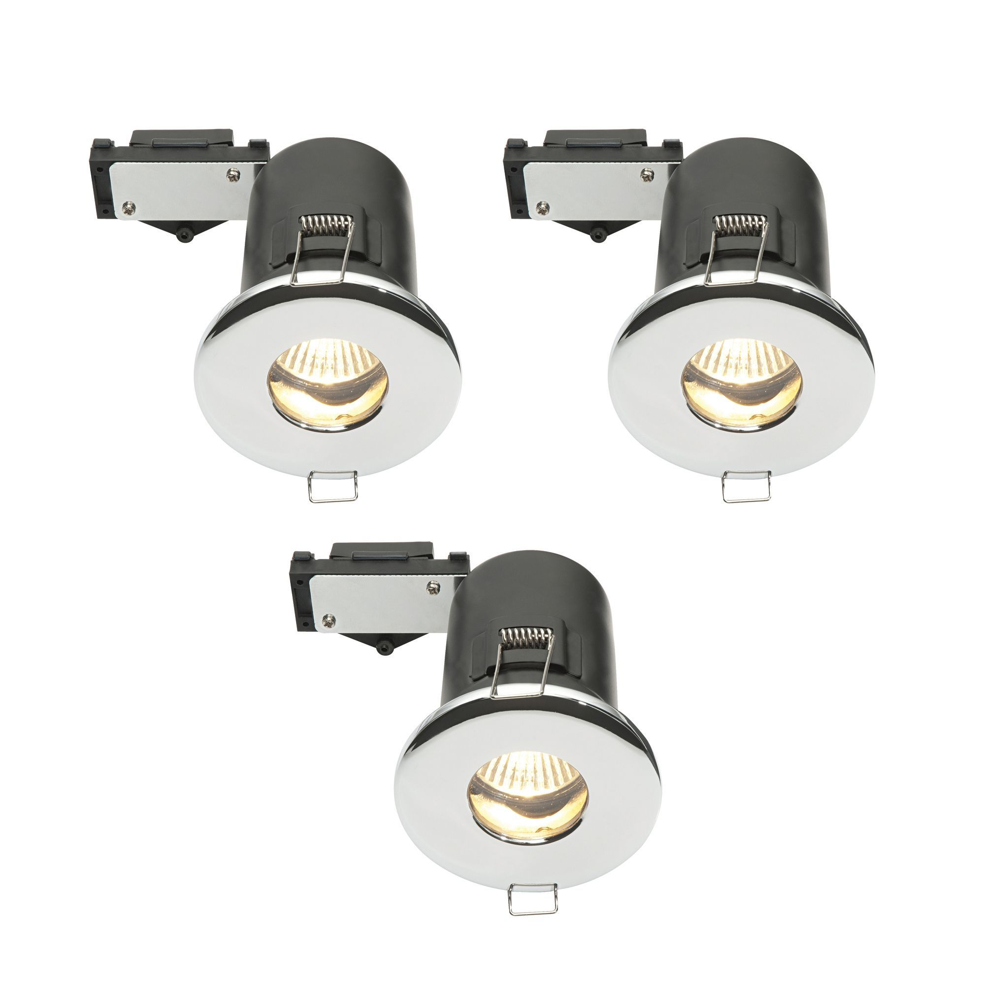 Diall Fire Rated Chrome Effect Halogen Downlight, Set Of 3